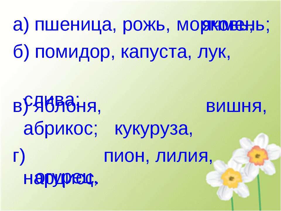 а) пшеница, рожь, ячмень; б) помидор, капуста, лук, в) яблоня, вишня, абрикос...