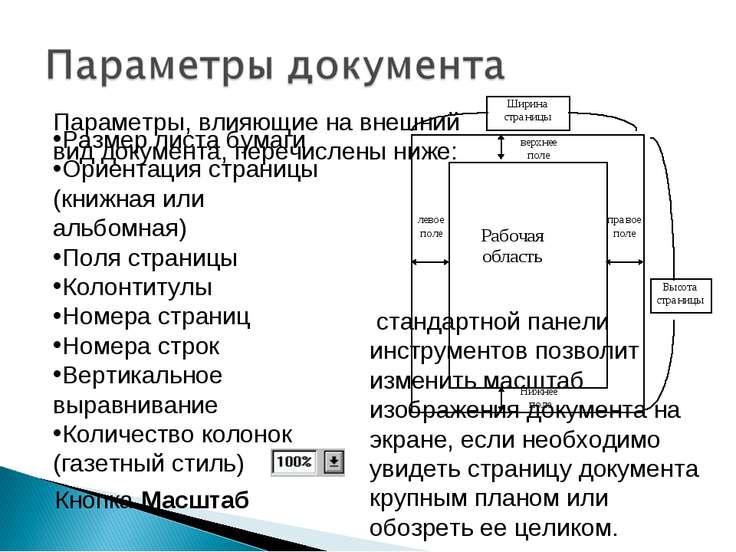 Размер листа бумаги Ориентация страницы (книжная или альбомная) Поля страницы...