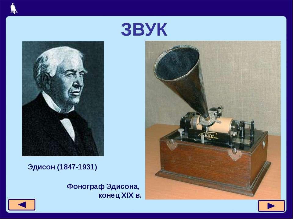 ЗВУК Эдисон (1847-1931) Фонограф Эдисона, конец XIX в.