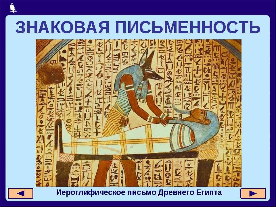 ЗНАКОВАЯ ПИСЬМЕННОСТЬ Иероглифическое письмо Древнего Египта