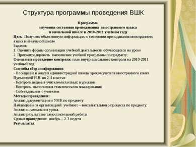 Программа изучения состояния преподавания иностранного языка в начальной школ...