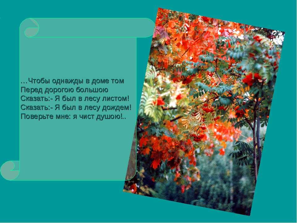 …Чтобы однажды в доме том Перед дорогою большою Сказать:- Я был в лесу листом...
