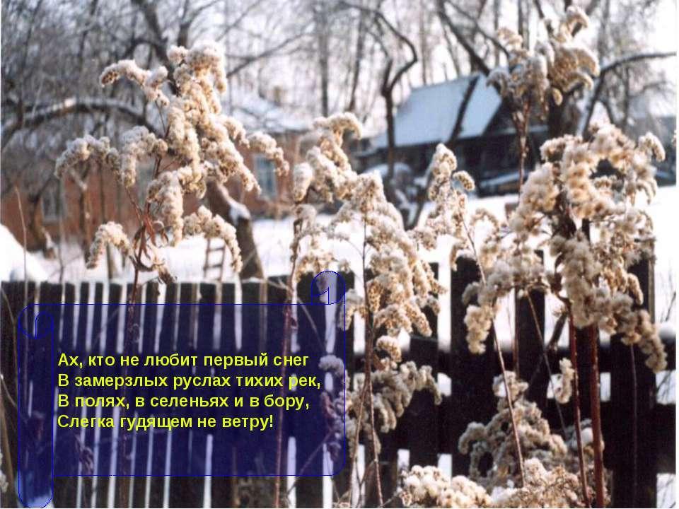 Ах, кто не любит первый снег В замерзлых руслах тихих рек, В полях, в селенья...