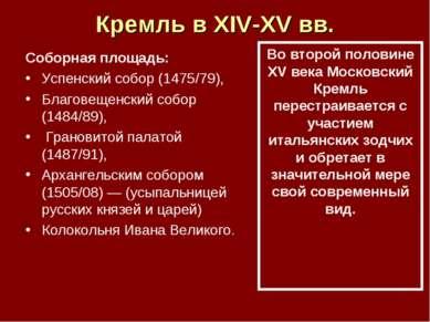 Кремль в XIV-XV вв. Соборная площадь: Успенский собор (1475/79), Благовещенск...