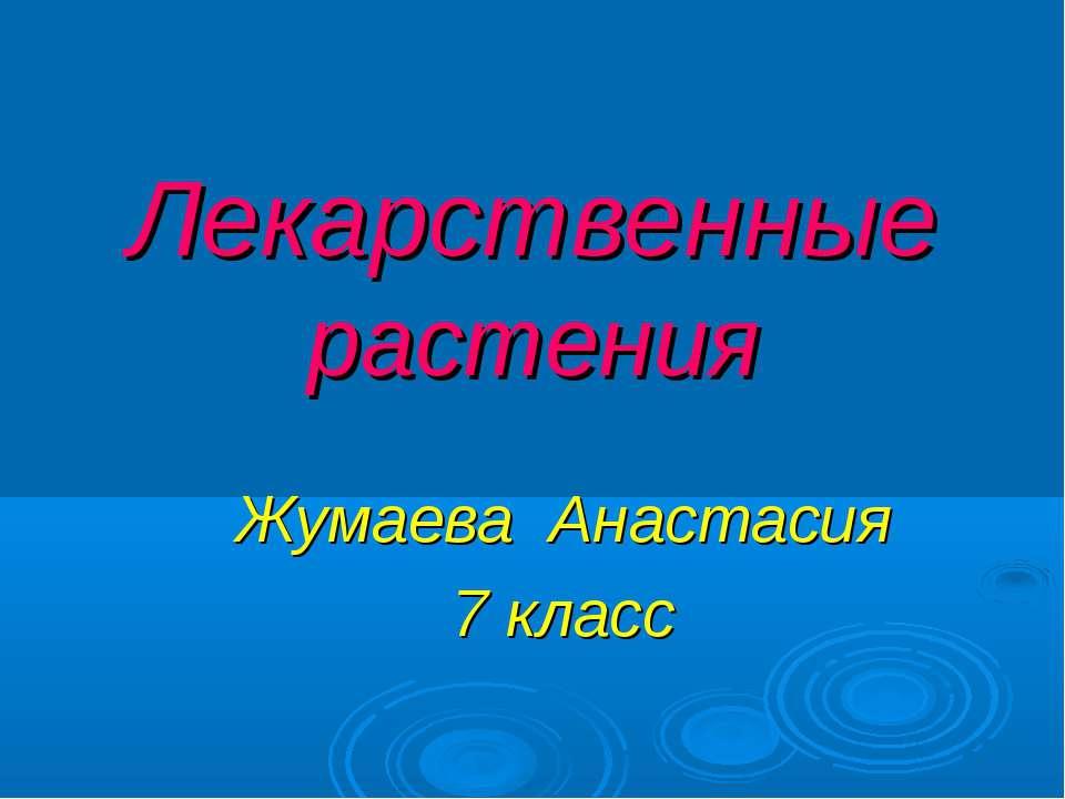 Лекарственные растения Жумаева Анастасия 7 класс