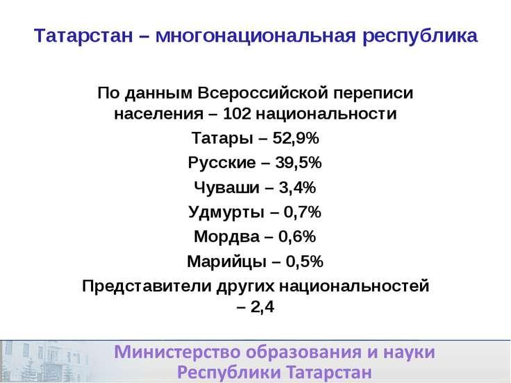 Татарстан – многонациональная республика По данным Всероссийской переписи нас...