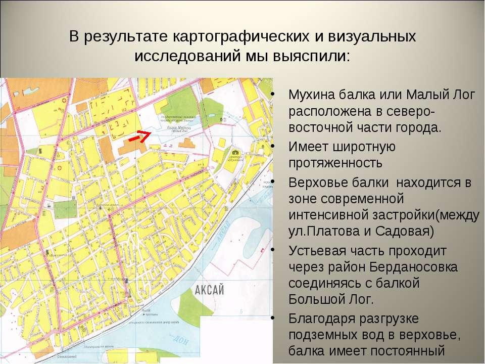 В результате картографических и визуальных исследований мы выяспили: Мухина б...
