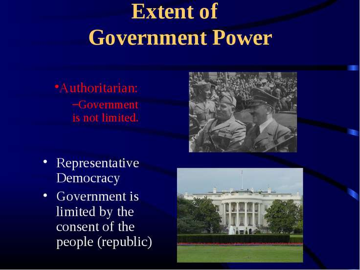 Extent of Government Power Representative Democracy Government is limited by ...