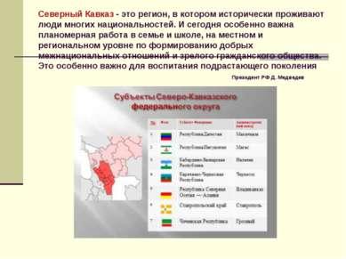 Северный Кавказ - это регион, в котором исторически проживают люди многих нац...