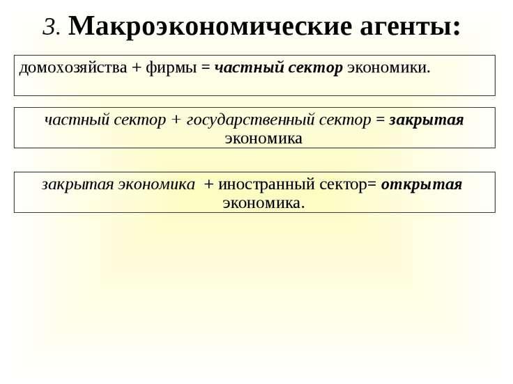 домохозяйства + фирмы = частный сектор экономики. 3. Макроэкономические агент...