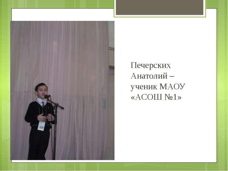 Печерских Анатолий – ученик МАОУ «АСОШ №1»