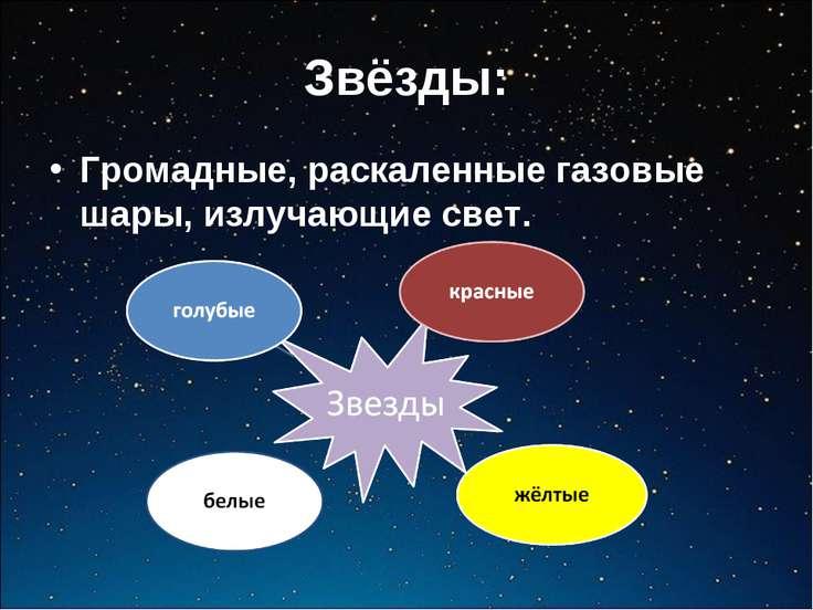 Звёзды: Громадные, раскаленные газовые шары, излучающие свет.