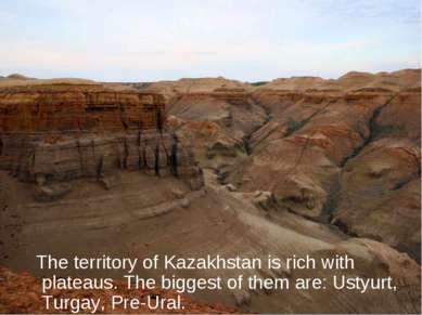 The territory of Kazakhstan is rich with plateaus. The biggest of them are: U...