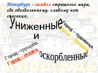Город –трущоба. Город – сказка. Город – чудовище. Город – дворец. Петербург -...