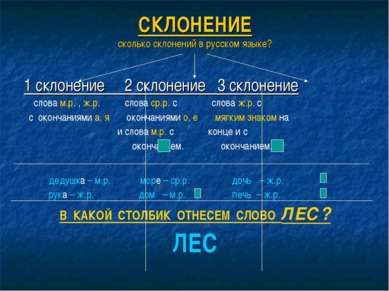 СКЛОНЕНИЕ сколько склонений в русском языке? 1 склонение 2 склонение 3 склоне...