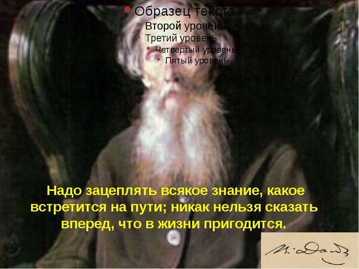 Надо зацеплять всякое знание, какое встретится на пути; никак нельзя сказать ...