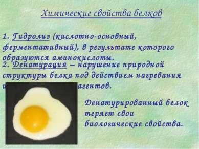 Химические свойства белков 1. Гидролиз (кислотно-основный, ферментативный), в...