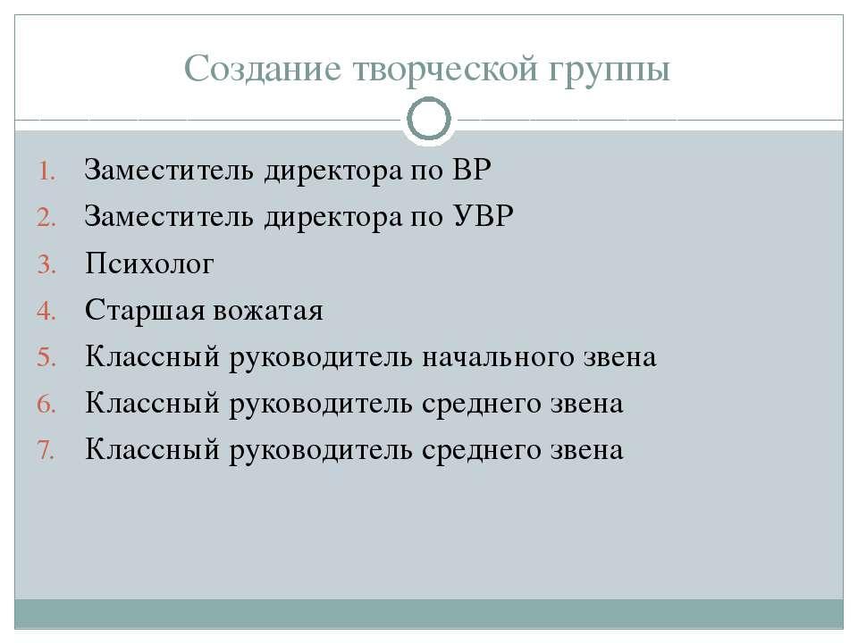 Создание творческой группы Заместитель директора по ВР Заместитель директора ...