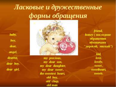 Ласковые и дружественные формы обращения baby, boy, dear, angel, dearest, dea...