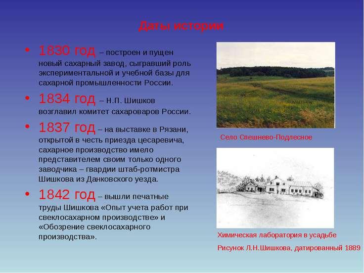 Даты истории 1830 год – построен и пущен новый сахарный завод, сыгравший роль...