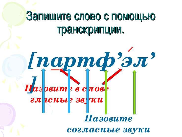 Запишите слово с помощью транскрипции. [партф'эл'] Назовите в слове гласные з...