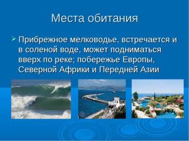 Места обитания Прибрежное мелководье, встречается и в соленой воде, может под...