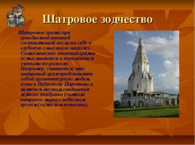 Шатровое зодчество Шатровые храмы при грандиозной внешней составляющей несли ...