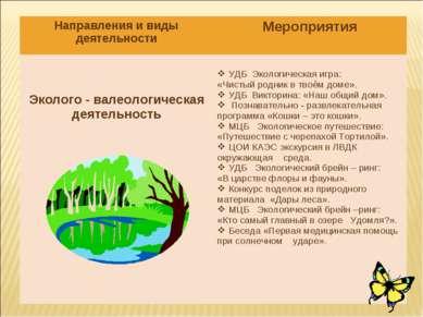 Направления и виды деятельности Мероприятия Эколого - валеологическая деятель...