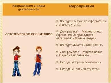 Направления и виды деятельности Мероприятия Эстетическое воспитание Конкурс н...