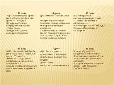 13 день УДБ Экологический брейн – ринг: «В царстве флоры и фауны» II группа К...