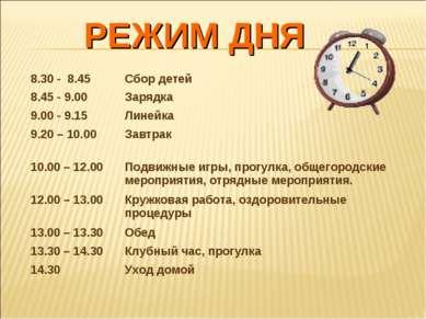 РЕЖИМ ДНЯ 8.30 - 8.45 Сбор детей 8.45 - 9.00 Зарядка 9.00 - 9.15 Линейка 9.20...