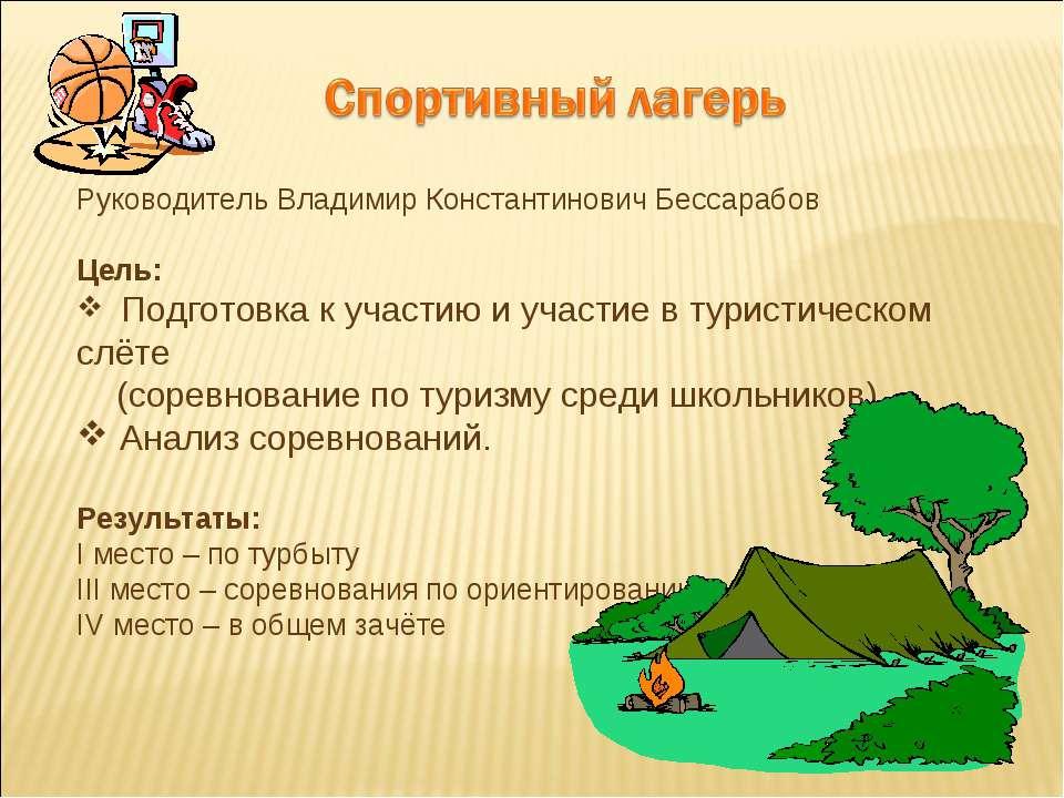 Руководитель Владимир Константинович Бессарабов Цель: Подготовка к участию и ...