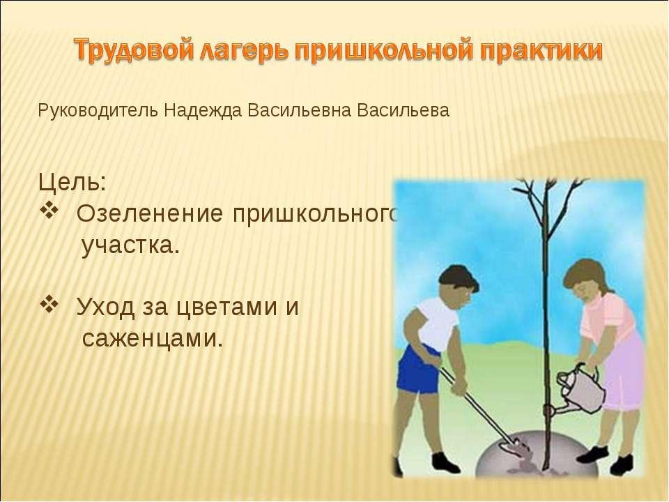 Руководитель Надежда Васильевна Васильева Цель: Озеленение пришкольного участ...
