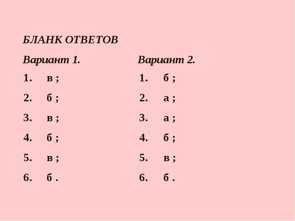 БЛАНК ОТВЕТОВ Вариант 1. Вариант 2. 1. в ; 1. б ; 2. б ; 2. а ; 3. в ; 3. а ;...