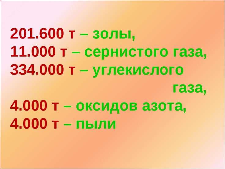 201.600 т – золы, 11.000 т – сернистого газа, 334.000 т – углекислого газа, 4...