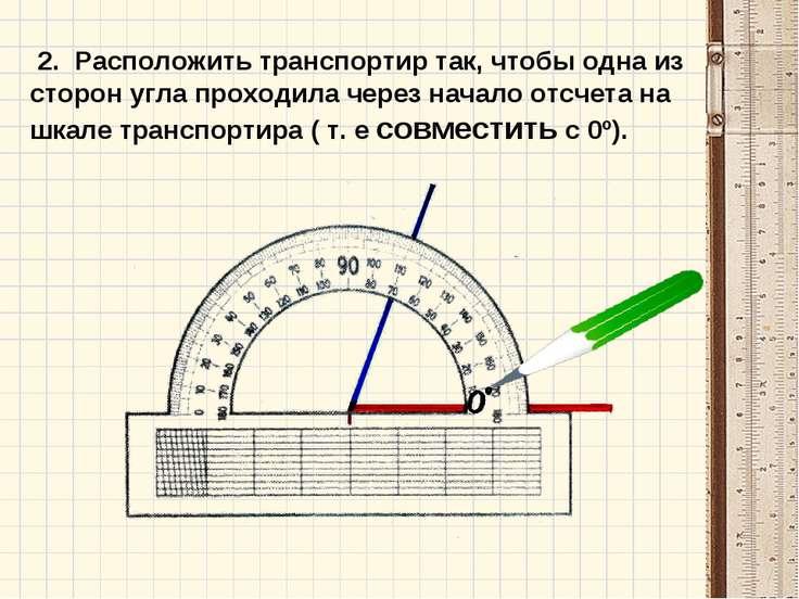 2. Расположить транспортир так, чтобы одна из сторон угла проходила через нач...