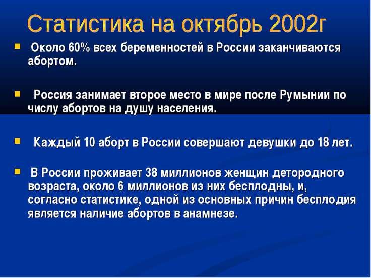 Около 60% всех беременностей в России заканчиваются абортом.  Россия занимае...