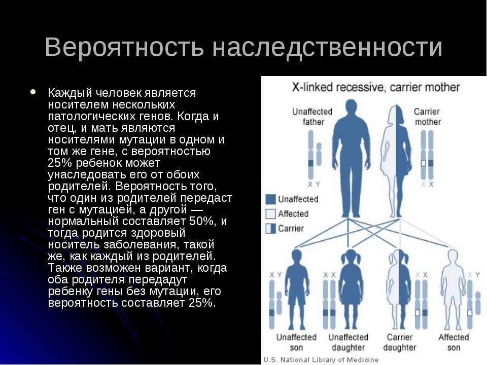 Вероятность наследственности Каждый человек является носителем нескольких пат...