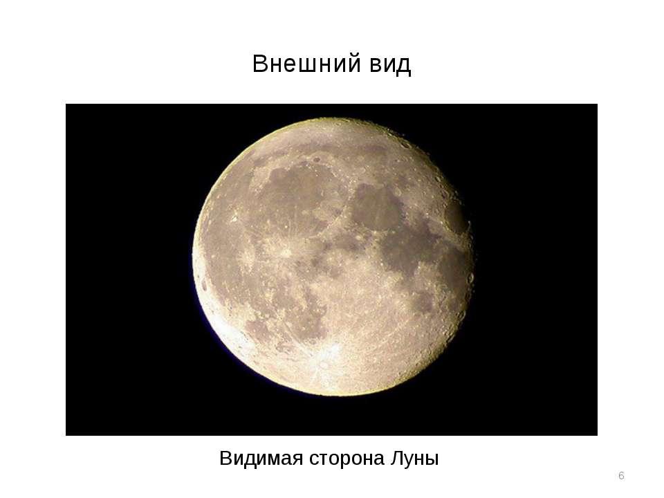 Внешний вид * Видимая сторона Луны