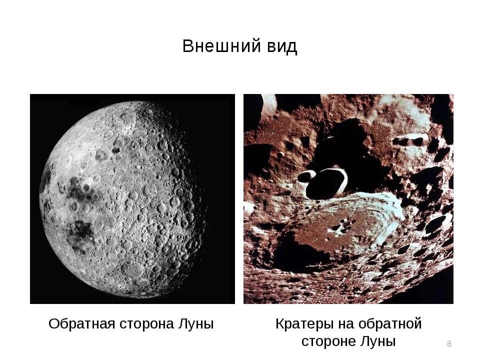 Внешний вид * Обратная сторона Луны Кратеры на обратной стороне Луны