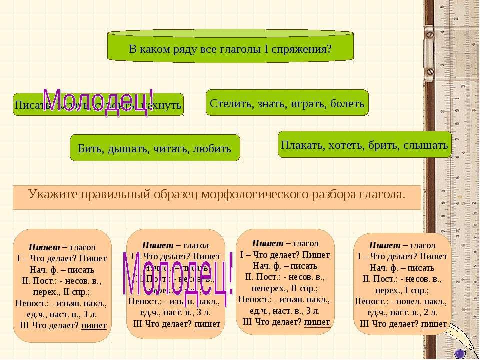 Укажите правильный образец морфологического разбора глагола. Укажите правильн...