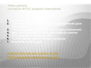 Типы уроков согласно ФГОС второго поколения технологическая карта урока лит.d...
