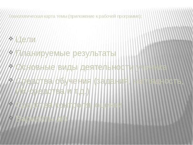 Технологическая карта темы (приложение к рабочей программе): Цели Планируемые...