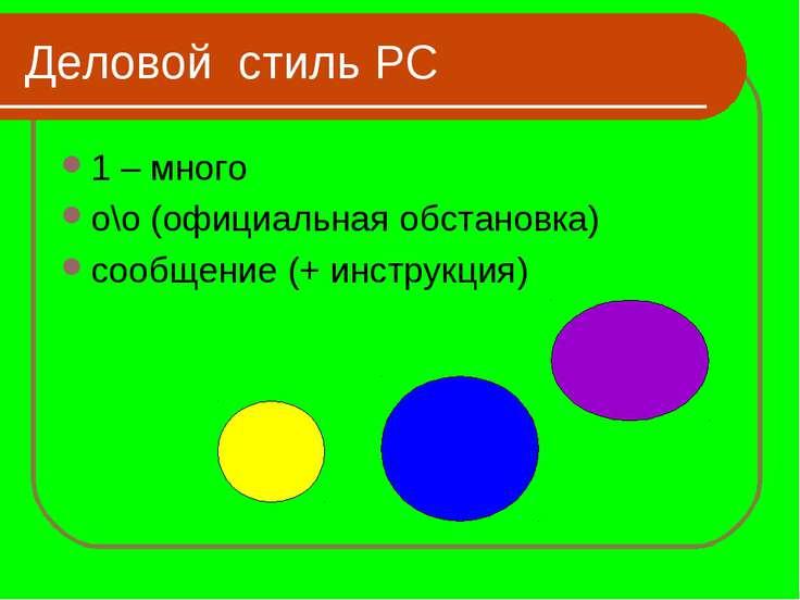 Деловой стиль РС 1 – много о\о (официальная обстановка) сообщение (+ инструкция)