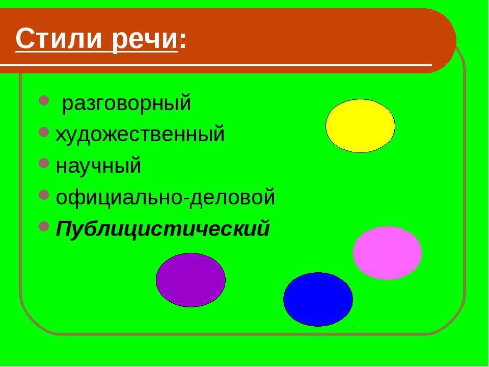 Стили речи: разговорный художественный научный официально-деловой Публицистич...