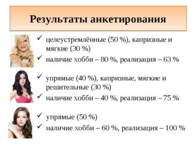 Результаты анкетирования целеустремлённые (50 %), капризные и мягкие (30 %) н...