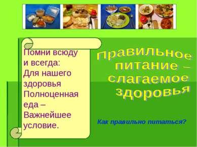 Помни всюду и всегда: Для нашего здоровья Полноценная еда – Важнейшее условие...