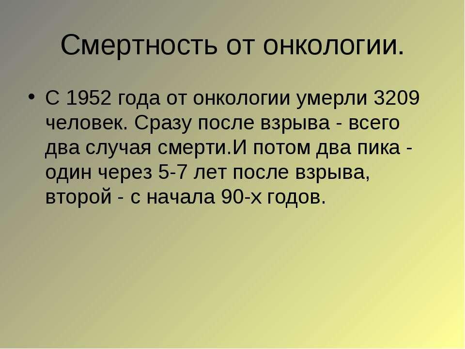 Смертность от онкологии. С 1952 года от онкологии умерли 3209 человек. Сразу ...