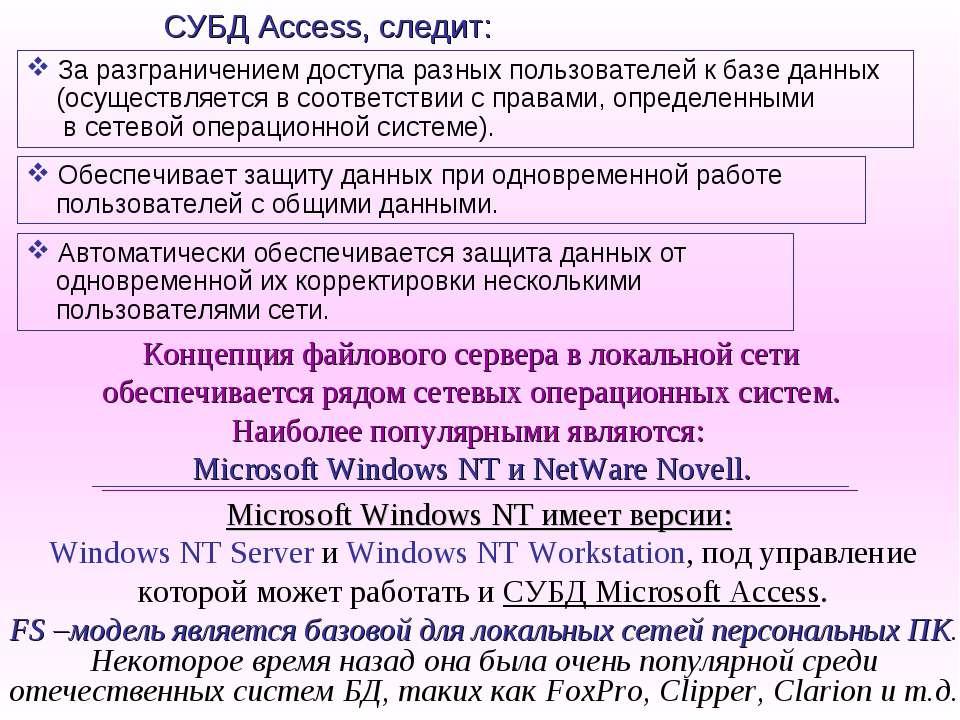 За разграничением доступа разных пользователей к базе данных (осуществляется ...