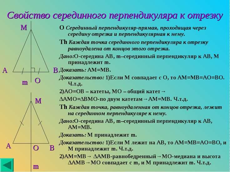 Свойство серединного перпендикуляра к отрезку O Серединный перпендикуляр-прям...